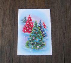 Vintage Christmas Card Box with 2 Unused 1950s Christmas Cards - Nativity Greeting Card Box - Christmas Tree Card; Baby Jesus Christmas Card