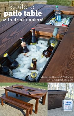 DIY patio table using planter boxes for built-in drink coolers, Kruse's Workshop on Remodelaholic Diy Outdoor Furniture, Furniture Projects, Home Projects, Diy Furniture, Backyard Furniture, Weekend Projects, Furniture Making, Furniture Design, Automotive Furniture