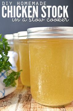 Recipe: Homemade Chicken Stock in a Slow-Cooker - the easiest and most flavorful chicken stock you'll ever make. Plus it's just 13¢ per quart to make!