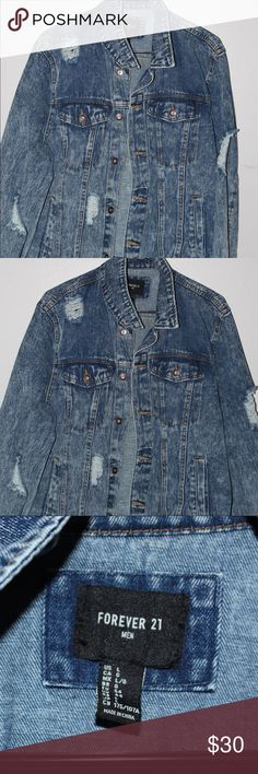 DISTRESSED JEAN JACKET Never worn jean jacket Forever 21 Jackets & Coats Lightweight & Shirt Jackets