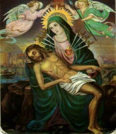 Con su Pequeño en brazos, dolida la Madre, oraba