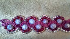 micro macrame bracelete  fio vermelho com miçangas