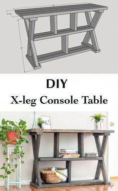How to build an easy X-leg console table with Free plans. DIY Rustic X-leg Console table that is easy and quick to build with the Free plans. This DIY Entryway table with shelves is made using structural lumber.