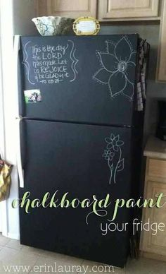 DIY chalkboard paint old fridge for a cheap and easy makeover!