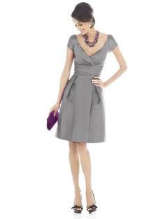 Grey bridesmaid dress.