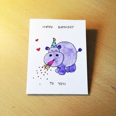 Funny birthday card, hand drawn just for your loved ones!    The card measures 10.5 cm (4.1) x 14.8 cm (5.8) and is made of white, heavyweight