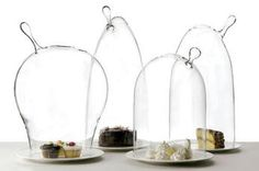 These handmade bell jars, by the Fabrica student Becka Citron, come in four novel shapes. The series, called Glass Martians, was created for the Roman furnishings showroom Secondome