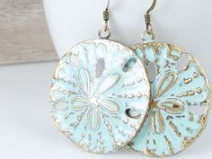 Beach Jewelry Sand Dollar Earrings Bohemian Boho Chic Light Turquoise Blue Summer Jewelry Distressed Weathered Shabby Chic Ocean Aqua