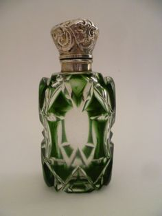 Victorian Emerald Green Overlay Glass Perfume Scent Bottle s Silver Lid C1880 | eBay