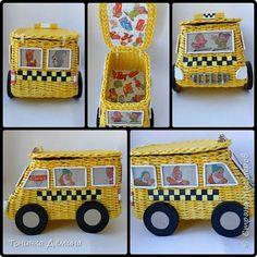 Поделка изделие Плетение Пожарная машина маршрутное такси и паровоз Бумага Трубочки бумажные фото 2