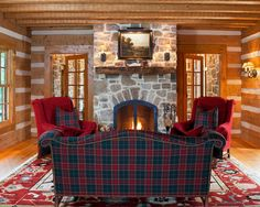 Decorating, Rustic Living Room With Dark Green And Red Plaid Couch Color Also Elegant Padded Armchair With Red Color Also Plaid Cushions Also Traditional Stone Fireplace With Natural Wooden Mantelpiece And Glass Door: Plaid Carpet and Any Other Plaid Products