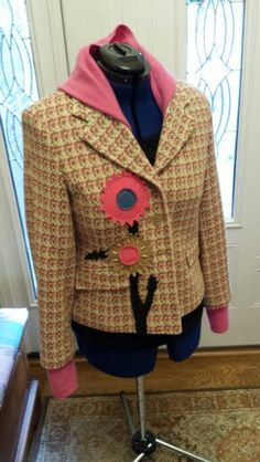 Upcycled Jacket With Applique Flowers and Pink Cashmere Hood