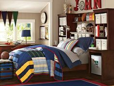 I love the PBteen Stuff-Your-Stuff Varsity Stripe Bedroom on pbteen.com love the wall color with red accents and bedding