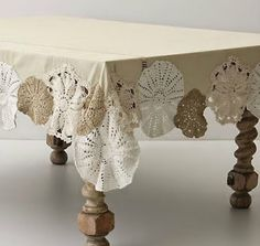 Beautiful doilies reborn as embellishment for an otherwise plain table cloth. You could do this with a red table cloth as well with white doilies for a more festive Christmas approach. Doilies Crafts, Lace Doilies, Crochet Doilies, Crochet Tablecloth, Sewing Crafts, Sewing Projects, Diy Projects, Diy Crafts, Project Ideas