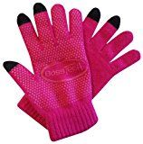 Boss Tech Products Knit Non-Skid Touchscreen Gloves for Cell Phones, Smart Phones, Tablets and ATM Machines, Hot Pink (BTP-GLV-NS-HTPK)