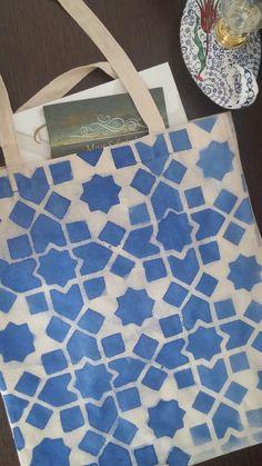 Kumaş boyama kanvas çanta geometrik desen