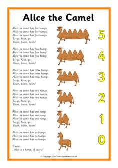Alice the Camel Song Sheet (SB10661)