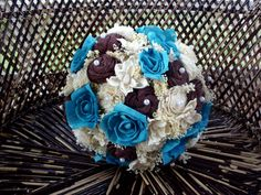 Turquoise and brown bridal bouquet Rustic Bridal Bouquets, Rustic Bouquet, Bride Bouquets, Wedding Beach, Rustic Wedding, Sola Flowers, Wood Vase, Wedding Keepsakes, Blue And White