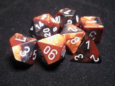 FRP GAMES - PRODUCT - Chessex RPG Dice Sets: Black-Copper/White Gemini Polyhedral 7-Die Set
