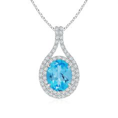 Pamper your jewel desires with this blue topaz and diamond designer double halo pendant set in 14k white gold.