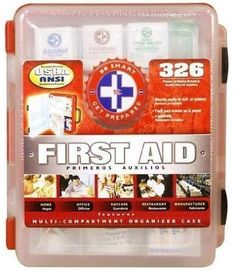First Aid Kit With Hard Case- 326 pcs- First Aid Complete Care Kit - Exceeds OSHA & ANSI Guidelines - Ideal for the Workplace - Disaster Preparedness (Color Red) by First Aid Center, http://www.amazon.com/dp/B002DQY776/ref=cm_sw_r_pi_dp_JnY7qb032YK0M