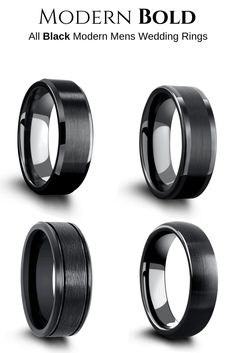 A collection of all black mens wedding rings. These unique wedding bands are either crafted out of black tungsten or black titanium. If he wants an all-black wedding ring this collection is for him. #mensweddingrings #blackweddingrings #mensweddingbands