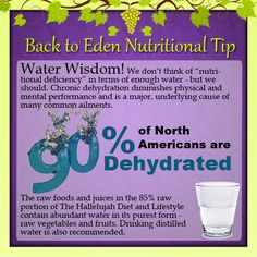 Back to Eden Nutritional Tip - 90% of North Americans are Dehydrated! - (www.edenwellness.org)