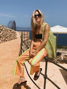 Holiday Capsule wardrobe: Lucy Williams in stripe trousers, bikini and neon net bag Vacation Outfits, Summer Outfits, Cute Outfits, Stylish Outfits, Girl Outfits, Beautiful Outfits, Fashion Outfits, Summertime Outfits, Summer Clothes