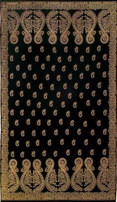"isqineeha: "" Kashmiri Shawl - Pakistani Artist AISHA KHALID Kashmiri Shawl is a site specific installation of a pashmina scarf combined with gold plated steel pins. Textile Patterns, Textile Prints, Kashida Embroidery, Embroidery Saree, Weave Shop, Paisley Art, Kashmiri Shawls, Pottery Painting Designs, Medieval Fashion"