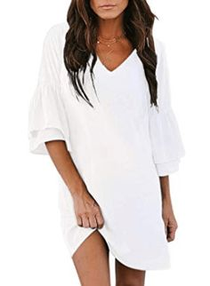 Casual White Beach Dresses: If you're looking for a super flattering casual white dress for your next vacation or summer party, you've come to the right place. Long summer dresses as well as short and sassy beach dresses. Beach Hairstyles, Men's Hairstyle, Formal Hairstyles, Ponytail Hairstyles, Hairstyles Haircuts, Wedding Hairstyles, Long Summer Dresses, White Dress Summer, Beach Dresses