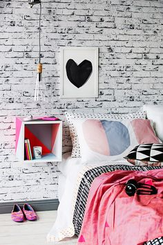 Mount a bedside table on the wall to free up floorspace   School of Real Living