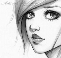 Sketch of a quizzical girl, a realistic cartoon drawing.