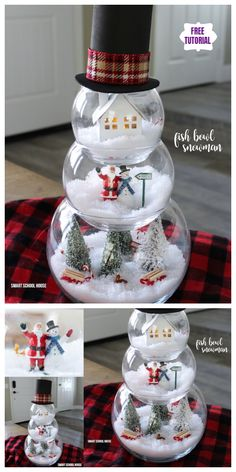 DIY Fish Bowl Snowman Christmas Decoration Crafts Tutorial-Video: using 3 different sized fish bowls to create Christmas scene in each. Cute Christmas Decorations, Snowman Christmas Decorations, Cute Christmas Gifts, Snowman Crafts, Homemade Christmas Gifts, Christmas Snowman, Christmas Projects, Decor Crafts, Holiday Crafts
