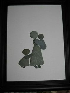 Why is the little girl holding her butt tho/bc the oldest is used to getting all of Mom's attention, but now the first child has to share Mom with this new baby, so the eldest is tugging for attention 🙂 Pebble Mosaic, Pebble Art, Mosaic Art, Pebble Pictures, Stone Pictures, Stone Crafts, Rock Crafts, Pebble Painting, Stone Painting
