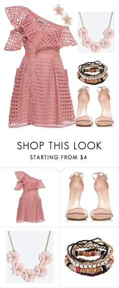 """""""Untitled #711"""" by vane-25 ❤ liked on Polyvore featuring self-portrait, Stuart Weitzman, J.Crew and NAKAMOL"""