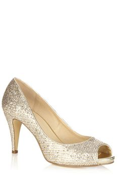 Let your feet do the talking in these adorable glitter peeptoe shoes. The shoes are finished with a small stiletto heel.