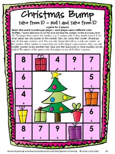 Christmas math bump game from Christmas Math Games First Grade by Games 4 Learning. This collection of Christmas math games contains 14 printable games. $