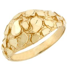 10k Solid Yellow Gold Nugget Diamond Cut Dome Ring Jewelry *** Please continue read.