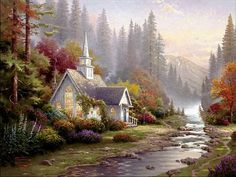 """Forest Chapel"" ~ Thomas Kinkade"
