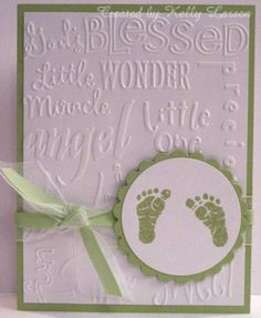 Precious baby feet with embossing and ribbon birth announcement or baby shower card!