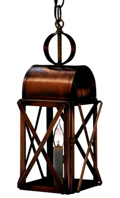The Bunker Hill Pendant Style Hanging Copper Lantern, shown here in our burnished Antique Brass finish with Clear Glass, is a traditional Colonial style copper lantern is ideal outdoor lighting for traditional homes including Colonial and Colonial Revival style homes. Made in America by hand from high quality copper or brass the Bunker Hill Post Mount Copper Lantern will never rust or corrode and includes our lifetime warranty. www.lanternland.com