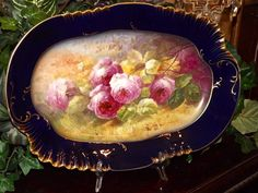 Limoges HUGE Stunning Rare Cobalt Platter/Tray/Plaque Pink Roses Signed