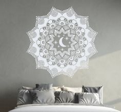Mandala Wall Decal Ethnic Moon Stickers Night Stars Vinyl Decals Moon Art Mural Home Interior Design Bohemian Bedding Decor DR7
