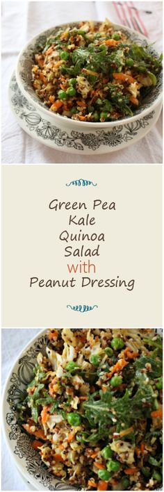 Green Pea Kale Quinoa Salad with Peanut Dressing Fruit And Veg, Fruits And Veggies, Health And Nutrition, Health Foods, Gluten Free Recipes, Healthy Recipes, Kale Quinoa Salad, Peanut Dressing, Gluten Free Living