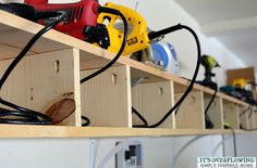 Awesome power-tool organization hack! Keep all of those wires from getting tangled up!