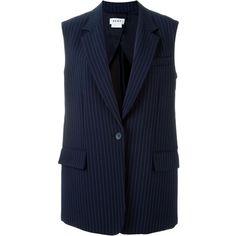 DKNY Pinstripe Blazer (8.205 NOK) ❤ liked on Polyvore featuring outerwear, jackets, blazers, blue, dkny blazer, blazer jacket, blue blazer, sleeveless blazer and blue sleeveless jacket
