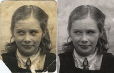 As well as the historical damage (tears & creases) there was some discolouring (black eyes!) & even drawing on the photo. Photo Repair, Old Photos, Eyes, Drawings, Painting, Black, Art, Old Pictures, Art Background