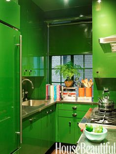 "Love this green kitchen for a ""pied a terre"" anywhere! ~ Designed by Miles Redd"