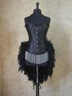 MEDIUM-Black Scattered Crystal Pin Up Showgirl Saloon Girl Can Can Moulin Burlesque Rouge Costume w/Feather Train on Etsy, $139.99