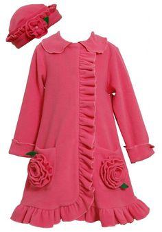 Bonnie Jean Girls 2T-6X Fuchsia Bonaz Rosette Pockets Fleece Coat / Hat Set (2T, Fuchsia)